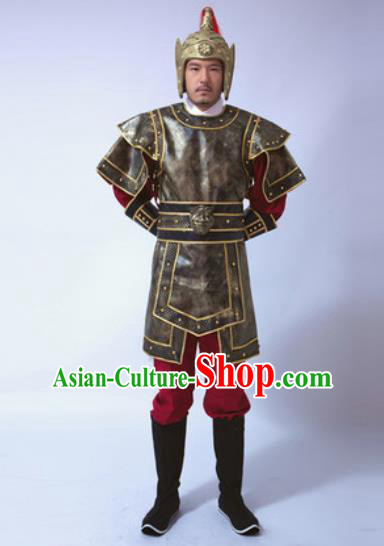 Traditional Chinese Ancient Han Dynasty Soldier Costumes Helmet and Body Armour for Men