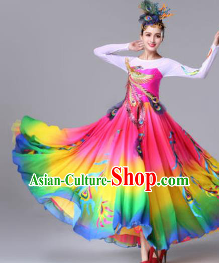 Traditional Chinese Classical Dance Rosy Dress Stage Performance Folk Dance Costume for Women