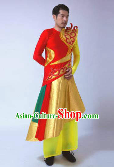 Chinese Traditional Martial Arts Costumes Folk Dance Yangko Red Clothing for Men