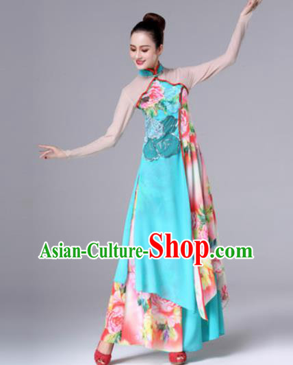 Traditional Chinese Classical Dance Dress Stage Performance Fan Dance Costume for Women