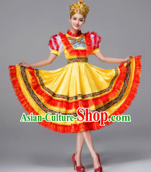 Russia Traditional Folk Dance Costumes Palace Yellow Dress for Women