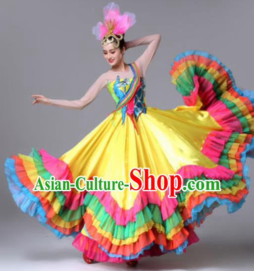 Traditional Chinese Classical Dance Yellow Dress Stage Performance Folk Dance Costume for Women