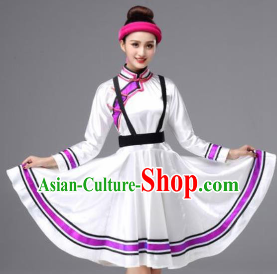 Chinese Traditional Ethnic Costumes Mongolian Minority Nationality Folk Dance White Dress for Women
