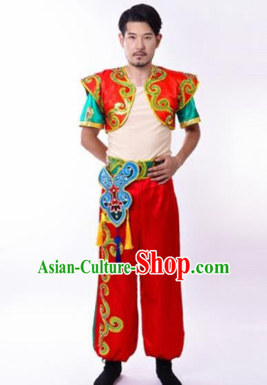 Chinese Traditional Folk Dance Costumes Yangko Dance Drum Dance Clothing for Men