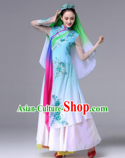 Chinese Traditional Ethnic Costumes Hui Minority Nationality Folk Dance Blue Dress for Women