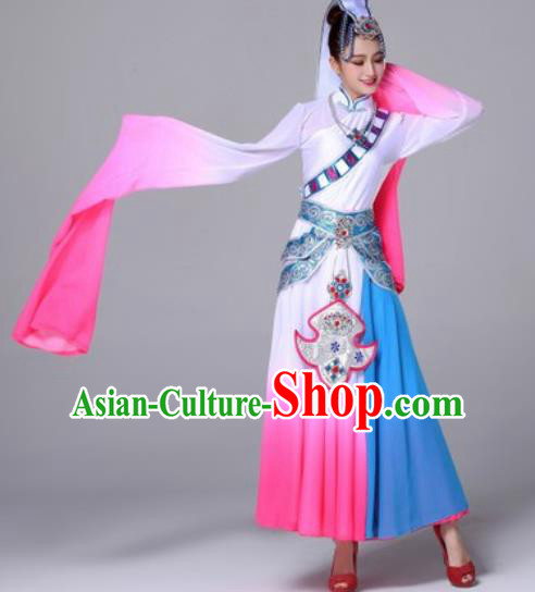 Chinese Traditional Ethnic Costumes Tibetan Minority Nationality Folk Dance Pink Dress for Women