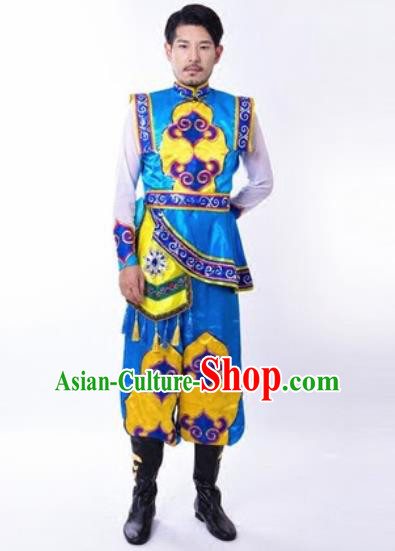 Chinese Traditional Folk Dance Costumes Mongolian Minority Dance Clothing for Men