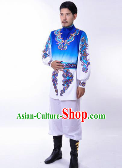 Chinese Traditional Folk Dance Costumes Uyghur Minority Dance Royalblue Clothing for Men