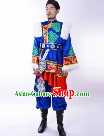 Chinese Traditional Folk Dance Royalblue Costumes Tibetan Minority Dance Clothing for Men