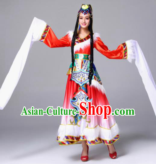 Chinese Traditional Zang Ethnic Costumes Tibetan Minority Nationality Folk Dance Red Dress for Women