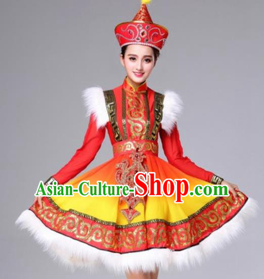 Chinese Traditional Mongolian Ethnic Costumes Mongol Minority Nationality Folk Dance Red Dress for Women