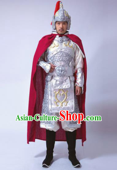 Traditional Chinese Ancient Han Dynasty General Costumes White Helmet and Body Armour for Men