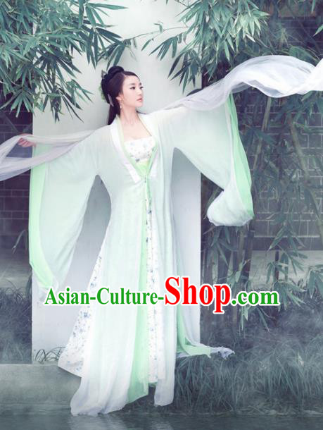 Chinese Traditional Peri Green Hanfu Dress Ancient Princess Embroidered Costumes for Women