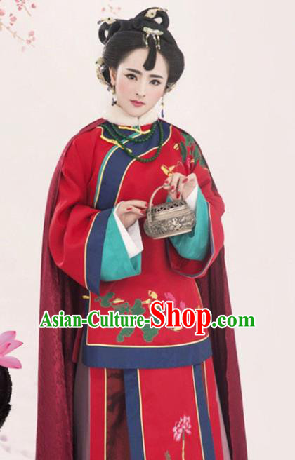 Chinese Traditional Wedding Hanfu Dress Ancient Qing Dynasty Queen Embroidered Costumes for Women