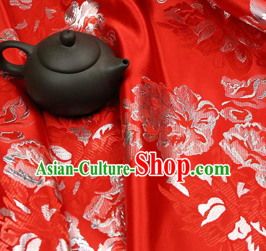 Red Brocade Chinese Traditional Silk Fabric Material Classical Peony Pattern Design Satin Drapery