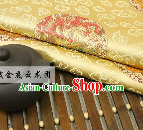 Golden Brocade Chinese Traditional Silk Fabric Material Classical Dragon Pattern Design Satin Drapery