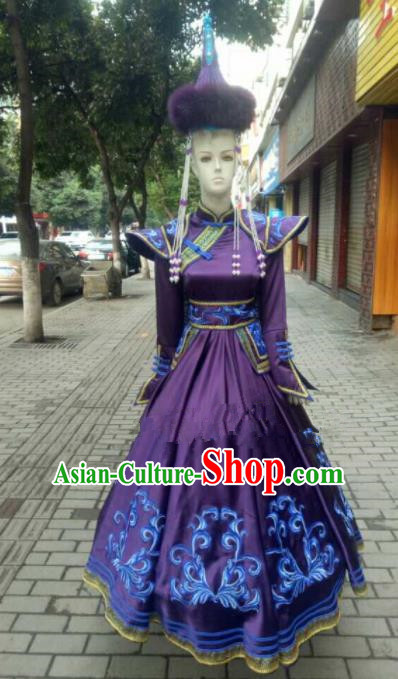 Chinese Traditional Mongol Nationality Purple Ethnic Costumes Mongolian Folk Dance Dress for Women