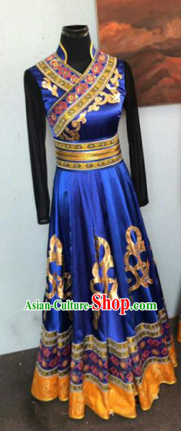 Chinese Traditional Mongol Nationality Ethnic Costumes Mongolian Folk Dance Blue Dress for Women