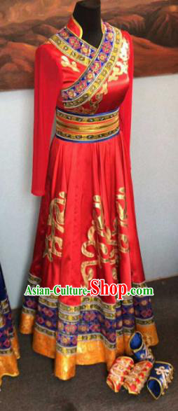 Chinese Traditional Mongol Nationality Ethnic Costumes Mongolian Folk Dance Red Dress for Women
