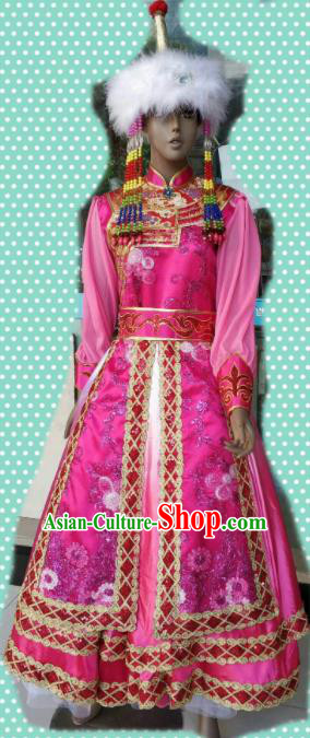 Chinese Traditional Mongol Nationality Pink Costumes Mongolian Folk Dance Ethnic Dress for Women