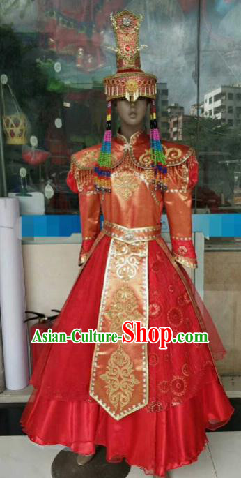 Chinese Traditional Mongol Nationality Wedding Red Costumes Mongolian Folk Dance Ethnic Dress for Women