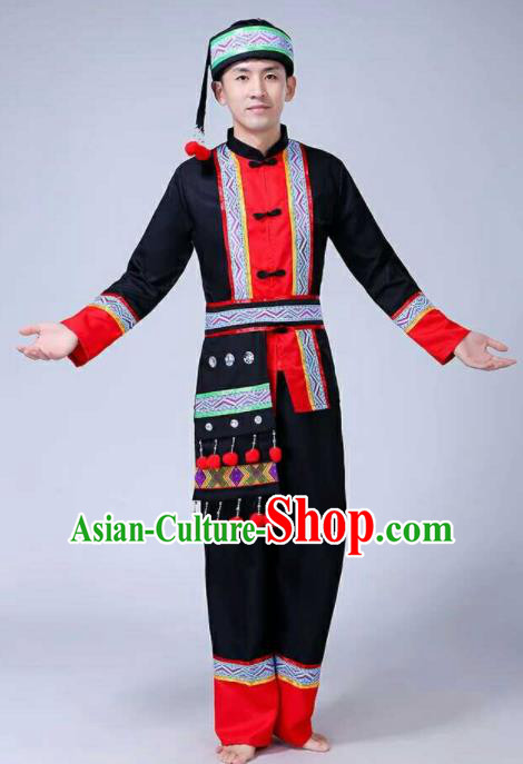 Chinese Traditional Folk Dance Costumes Gaoshan Nationality Dance Clothing for Men