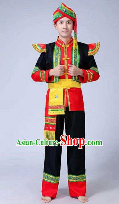 Chinese Traditional Folk Dance Costumes Yi Nationality Dance Clothing for Men
