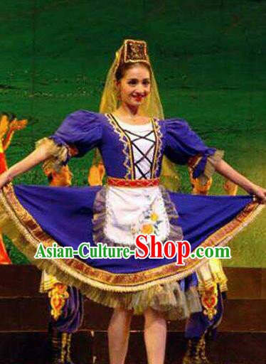 Chinese Traditional Tajik Nationality Wedding Costumes Folk Dance Purple Ethnic Dress for Women