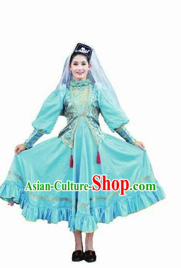 Chinese Traditional Tajik Nationality Wedding Costumes Folk Dance Blue Ethnic Dress for Women