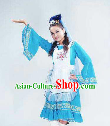 Chinese Traditional Tatar Nationality Wedding Costumes Folk Dance Blue Ethnic Dress for Women