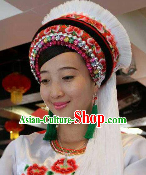 Chinese Traditional Bai Nationality Hair Accessories Bai Ethnic Hat Headwear for Women