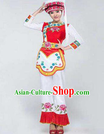 Chinese Traditional Bai Nationality Costumes Folk Dance Ethnic Dress for Women