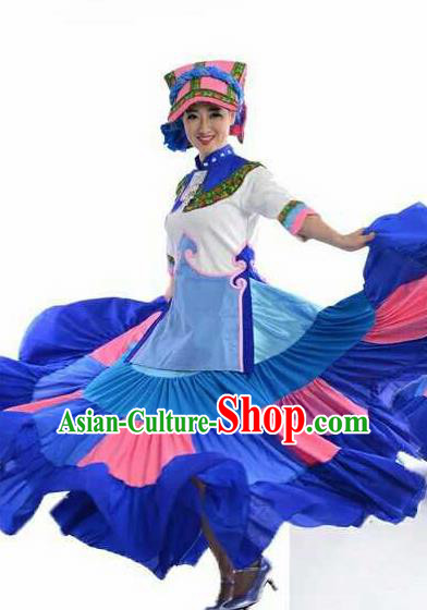 Chinese Traditional Yi Nationality Costumes Torch Festival Folk Dance Ethnic Dress for Women
