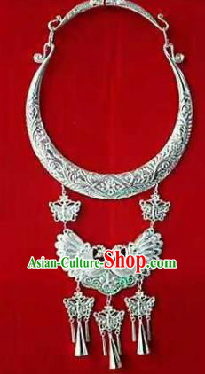 Chinese Traditional Miao Nationality Sliver Peacock Necklace Ethnic Wedding Jewelry Accessories for Women