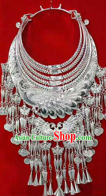 Traditional Chinese Miao Nationality Sliver Peacock Necklace Ethnic Wedding Jewelry Accessories for Women