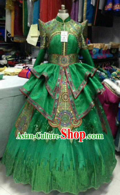 Chinese Traditional Mongol Nationality Costumes Mongolian Folk Dance Ethnic Green Dress for Women