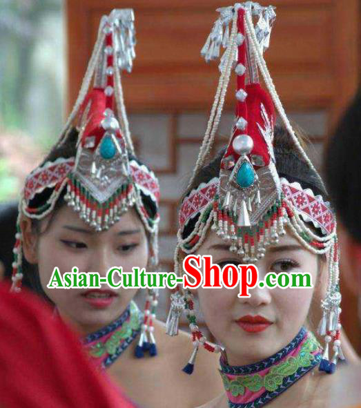 Traditional Chinese She Nationality Wedding Hat Ethnic Folk Dance Hair Accessories for Women