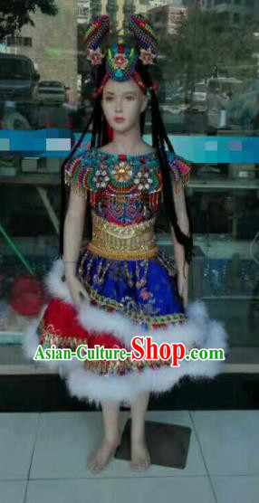 Chinese Traditional Zang Nationality Costumes Tibetan Folk Dance Ethnic Dress for Kids