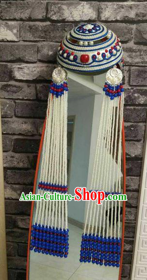 Traditional Chinese Mongol Nationality Tassel Hat Mongolian Ethnic Folk Dance Hair Accessories for Women