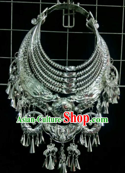 Traditional Chinese Miao Nationality Sliver Carving Necklace Hmong Wedding Jewelry Accessories for Women