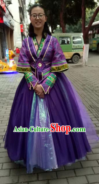 Chinese Traditional Classical Dance Purple Costumes Folk Dance Dress for Women