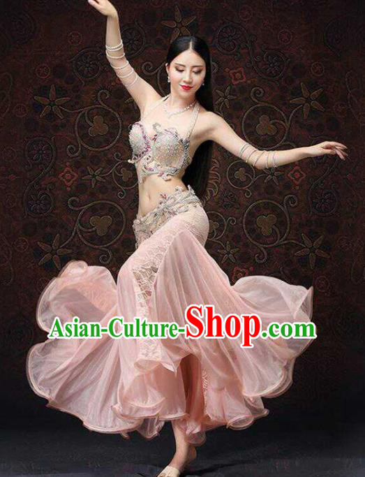 Top Grade Belly Dance Costumes Professional Oriental Dance Pink Dress for Women