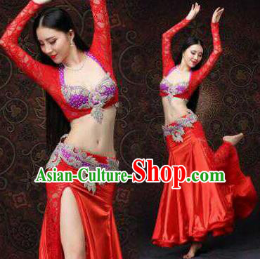 Top Grade Belly Dance Costumes Professional Oriental Dance Red Dress for Women