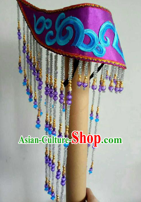 Traditional Chinese Mongol Nationality Tassel Hat Mongolian Dance Hair Accessories for Women