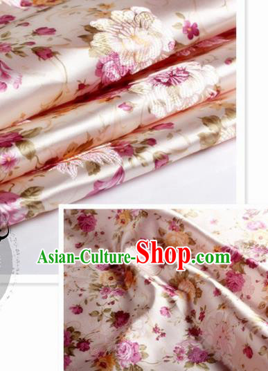 Chinese Traditional Pink Brocade Classical Peony Pattern Design Silk Fabric Material Satin Drapery
