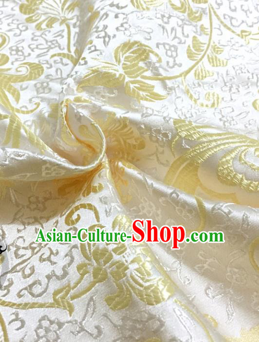 Chinese Traditional White Brocade Classical Ombre Flowers Pattern Design Silk Fabric Material Satin Drapery