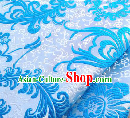 Chinese Traditional Blue Brocade Classical Ombre Flowers Pattern Design Silk Fabric Material Satin Drapery