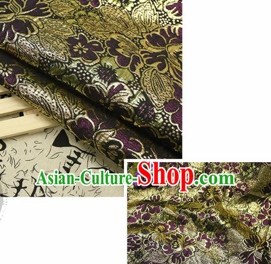 Chinese Traditional Deep Purple Brocade Classical Peony Flowers Pattern Design Silk Fabric Material Satin Drapery