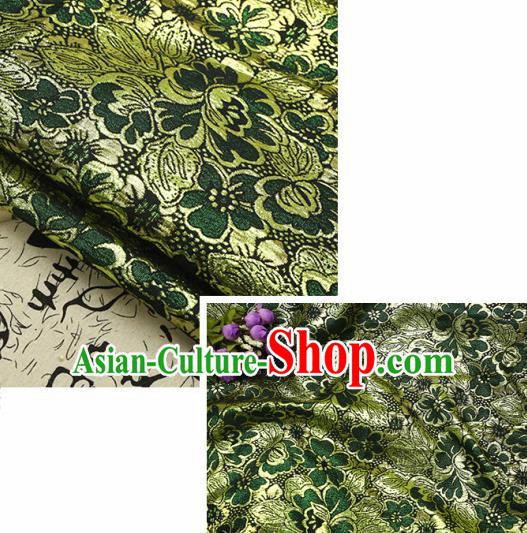 Chinese Traditional Deep Green Brocade Classical Peony Flowers Pattern Design Silk Fabric Material Satin Drapery