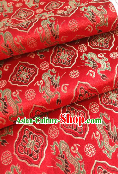 Chinese Traditional Tang Suit Red Brocade Classical Dragons Pattern Design Silk Fabric Material Satin Drapery